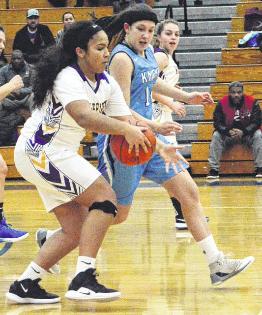 Rachel Gay defends a Dayton Christian player Dec. 6. Legacy forced 20 turnovers in a big win.