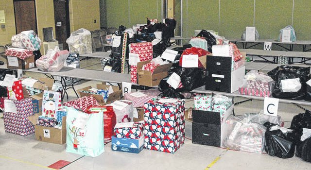 Scott Halasz | Greene County News The gymnasium inside the Xenia Community School District Central Office was full of gifts that were donated through the United Way.