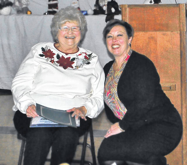 Submitted photo Imogene Dice was named 2018 Senior Citizen of the Year at the 42nd Annual Dr. Clement Austria Christmas Party. She is shown with Xenia Mayor Sarah Mays.