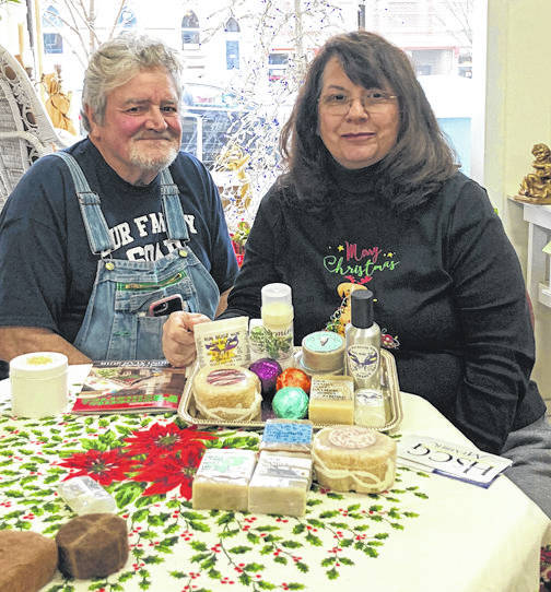 Scott Halasz | Greene County News Bob Summerlot and wife, Kristine Gadmoski-Summerlot, are about ready to hold the grand reopening of the store, Our Family Soap, on Detroit Street. The couple makes all the soaps and lotions for sale in the store.
