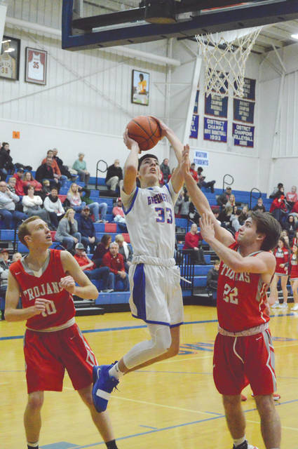 Greeneview sophomore Cole Allen (33) led the Rams with 18 points scored in a 51-48 win Jan. 25 over South Charleston Southeastern, in Jamestown.