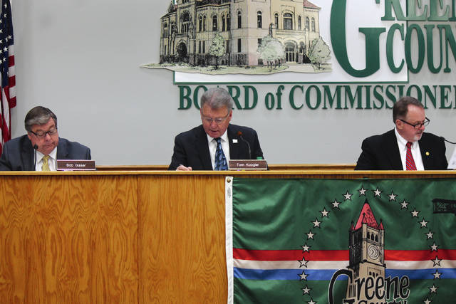 Anna Bolton | Greene County News New commissioner Dick Gould, right, attends his first meeting Jan. 3 alongside Commissioners Bob Glaser and Tom Koogler.
