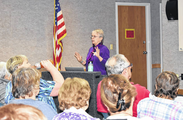 Natalie Jones | Greene County News Diana Nelson, experienced genealogist, teaches local residents about their DNA results.