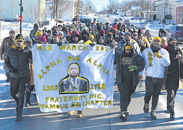 Submitted photos Alpha Phi Alpha held its annual Martin Luther King Jr., day march from Wilberforce to Xenia Jan. 21.