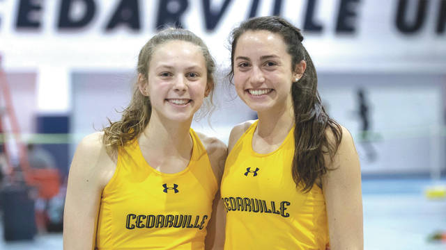 Sisters Olivia (left) and Sarah Hoffman are competing together on the same track & field team for the first time in their running careers, this season at Cedarville University.