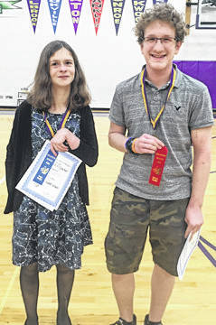 Submitted photos Bellbrook Middle School hosted the school district's annual science fair last week. More than half of the 67 entrants qualified for the district science fair at Central State University in March. Pictured are Dasha Crocker, and Kai Delsing and the first place finishers from Bellbrook High School.