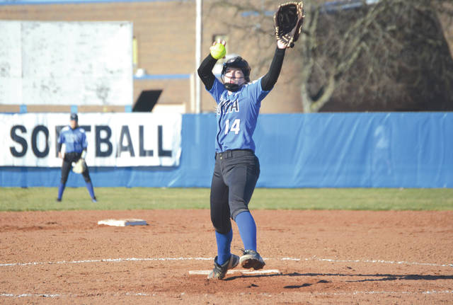 Senior pitcher Bailey Oliver delivers a pitch during Xenia's 15-3 run-ruled win in five innings, March 26, against visiting Greeneview.