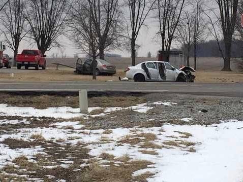 Photo courtesy WDTN Two cars crashed on State Route 72 North late morning March 9.