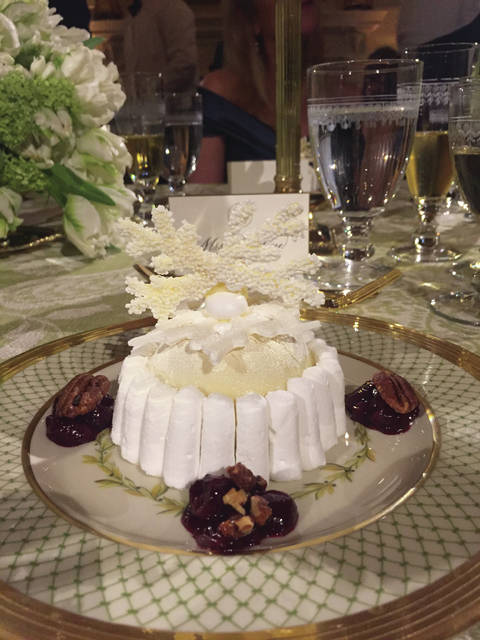 "The ""Enchanted Winter Wonderland"" dessert was beautiful, described on the menu as ""velvet chocolate nougat parfait, marinated cherries, cinnamon and maple-scented pecans, brown sugar breton."""