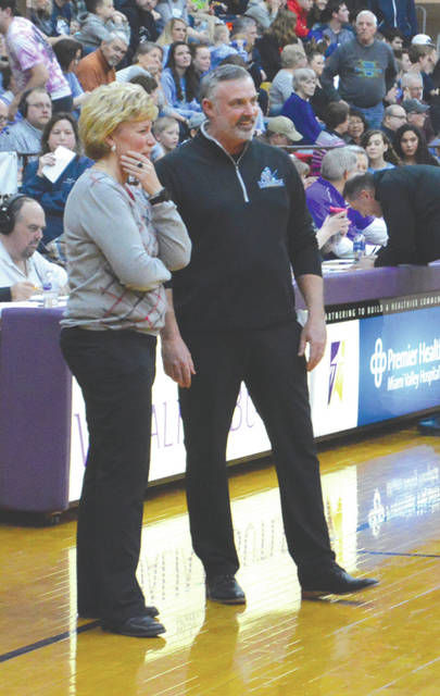 Legacy Christian coach Mark Combs (right) was named the 2019 Division IV Girls Basketball All-Ohio Coach of the Year, March 12 by a statewide media panel.