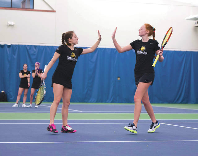 The Wright State University women's doubles team of Luisa Pelayo (left) and Grace Whitney currently have an 8-4 record together this season.