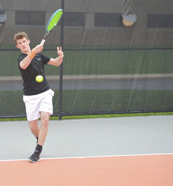 Beavercreek's Austin Staiger claimed a straight-set win over Bellbrook's Zach Schultz at first singles, April 17 at Beavercreek High School.