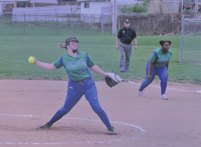 Chaminade Julienne's Carly Fugett throws a strike on her way to a perfect game, April 17, against the Carroll Patriots in Riverside.