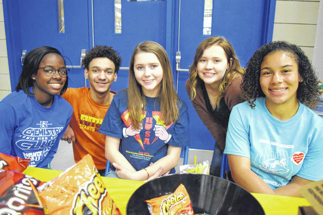 HOSA — formerly known as Health Occupations Students of America — blood drive volunteers Calli Jones, Tyreece Peterson, Madison Arthur, Kylie Stephens, and Alyssia Echols.