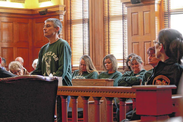 Anna Bolton | Greene County News Julie Deyo, daughter of Raymond and Linda Deyo, addresses the court during Kathy Smith's sentencing hearing April 11 in Greene County Common Pleas Court.