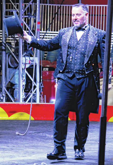 Anna Bolton | Greene County News Ringmaster Richard Curtis hosts the Antioch Shrine Circus opening night April 4 at the Greene County Fairgrounds.
