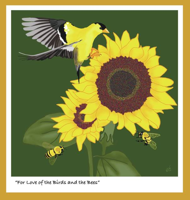 "Submitted photos ""For Love of the Birds and the Bees,"" digital painting by Kathy Moulton."