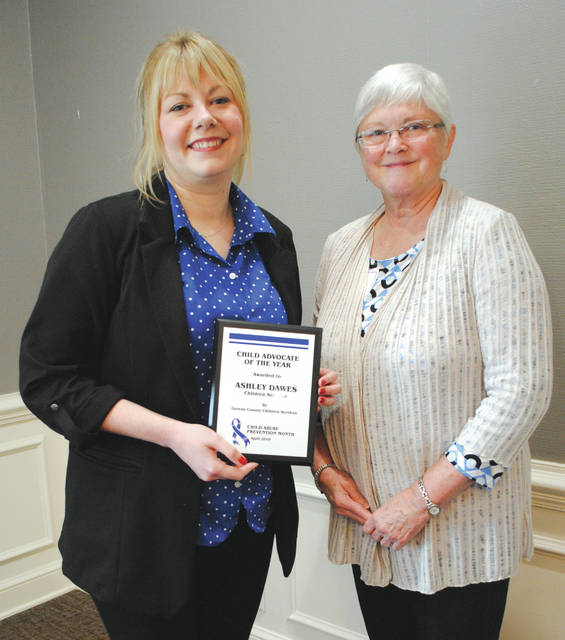"The Child Advocate of the Year Award in the ""Children Services"" category went to Ashley Dawes, a youth coordinator who specializes in preparing teen foster children for the transition to independent living. Pat Mazeika presented her with the award."