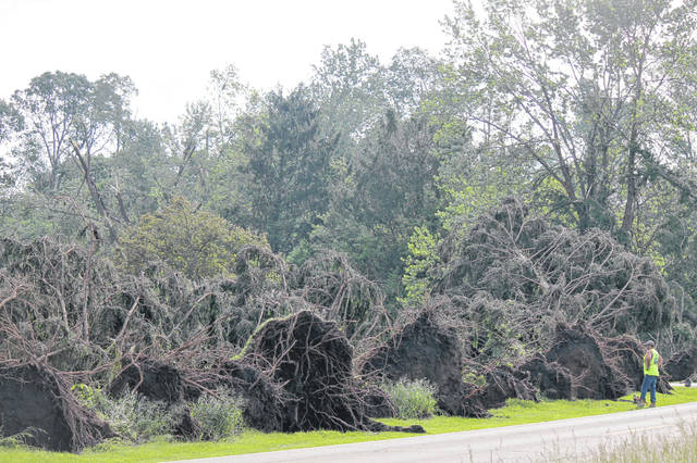 Anna Bolton | Greene County News Ludlow Road residents and crews in Beavercreek Township and Xenia Township clean up uprooted trees and debris the morning of May 28 following severe storms from the night before.