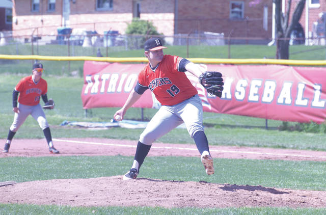 Beavercreek's pitcher Kevin Bellamy leads the Beavers to an April 27 win over the host Carroll Patriots.