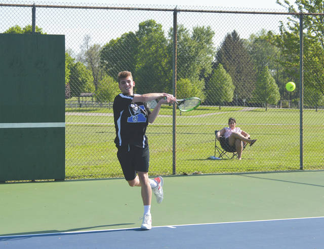 Xenia No. 1 singles player Jate Bradley chose to play his final home court match on a back court usually used for doubles matches, May 6, for his match against Legacy Christian at the Greene County Fairgrounds tennis courts.