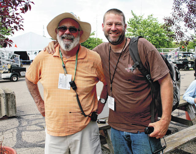 Anna Bolton | Greene County News Chuck Hill and Rick Snead, from North Carolina, hang out at Hamvention at the Greene County Fairgrounds May 17.