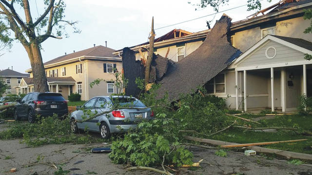 Submitted photos Approximately 150 homes in the Prairies at Wright Field housing area were damaged, some significantly, during the storm that passed through the Dayton area late on May 27.