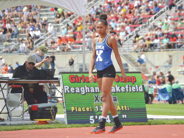 Competing in front of her largest crowd this season, Meaghan Wakefield overcame an early case of the jitters to place 13th in the Division I girls high jump competition, June 1 at the state track and field championships in Columbus.