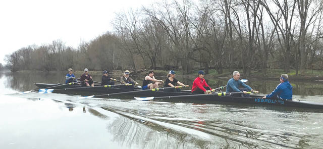 Participants in the April 2019 Learn-to-Row class learn the mechanics of the stroke. Today, they practice twice a week on the Dayton Boat Club's Novice team and will row in their first regatta on Aug. 3.