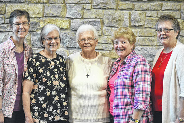 Pictured left to right are Sisters Marla Gipson, Margo Young, Edna Hess, Patty Kremer and Ann Clark.