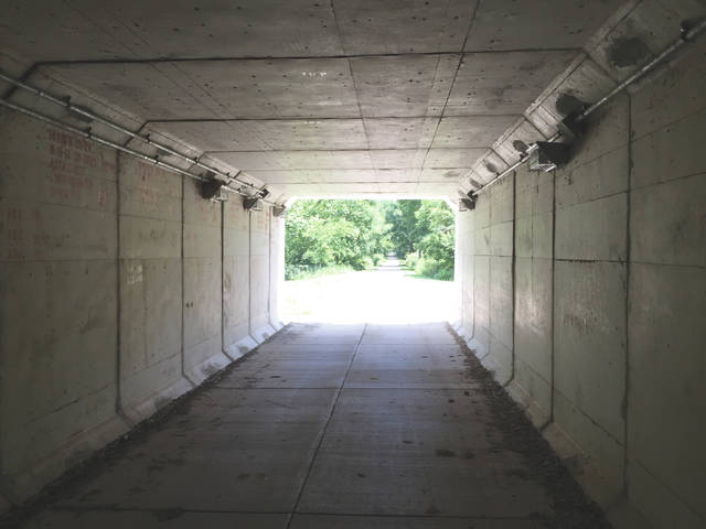 This tunnel under U.S. route 35 is about as close to urban as you'll get along the Jamestown Connector bike trail.
