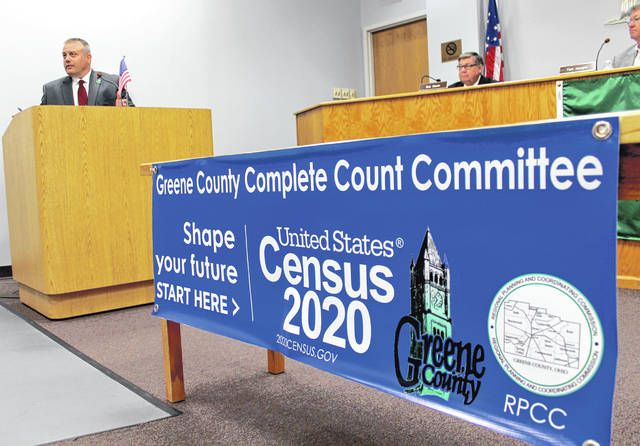 Anna Bolton | Greene County News Devon Shoemaker, executive director of Greene County Regional Planning & Coordinating Commission, opens the kick-off event July 23 for the 2020 Census Complete Count Committee.