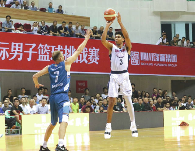 Former WSU men's basketball player Mark Hughes (3) was the U22 Team USA squad's top defensive stopper, during a 10-game June tour of China.
