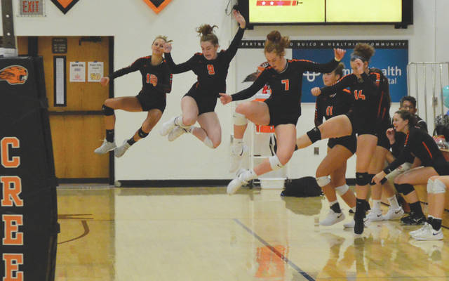 Beavercreek players Grace Phillips (10), Lexi Gibson (9), Tessa Walling (7), Korina Swiderski (11) and Ceci Kennedy (14) jump to celebrate a teammate's service ace, during Thursday's Aug. 22 girls high school volleyball match against visiting Wayne.