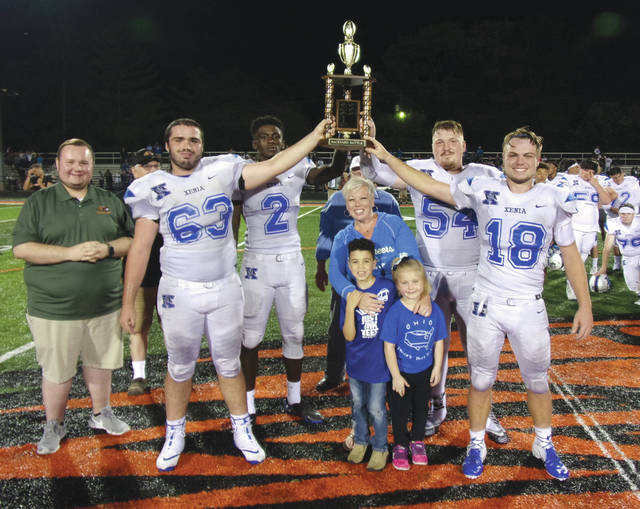 """<p class=""""n_ 157 v2"""">The 19th annual Xenia - Beavercreek """"Backyard Battle"""" high school football game will take place at 7 p.m. Thursday, Aug. 29 at Doug Adams Stadium in Xenia. The Walter G. Sellers Memorial Leadership Award (given to the two outstanding senior players on the field, the classroom and their community), Offensive Player of the Game, Defensive Player of the Game, Scout Player of the Week, and Special Teams Player of the Game awards will be presented after the game. The game will be the 2019 regular season opener for both teams. This year, the awards are sponsored by the Beavercreek Kiwanis Club. The mayors of the two communities — Xenia Mayor Sarah Mays (shown above with Beavercreek City Councilman Zach Upton) and Beavercreek Mayor Bob Stone — will be on hand to present the traveling trophy to the winning team. Xenia claimed a 41-14 win at Beavercreek last season. Beavercreek leads the series with a 9-8 mark. The teams did not play each other in 2013 or 2014."""