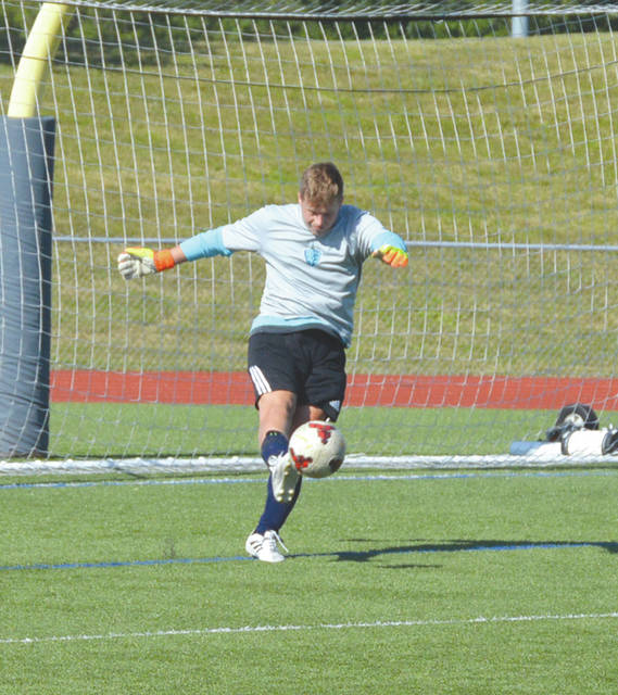Legacy Christian goalie Ty McEntyre boots a goal kick during the first half of an Aug. 9 high school boys soccer scrimmage game at the AIA Sports Complex in Xenia.