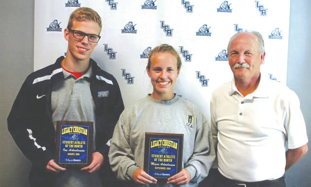 Legacy Christian Academy senior student athletes Ian and Megan Ackenhausen were chosen as the Edward Jones Investments Athlete of the Month, for August and September respectively. This award is being sponsored by the office of Mike Reed at Edward Jones Investments of Xenia, serving Xenia, Jamestown, Cedarville and surrounding areas. Ian is the top runner this fall for the cross country team. Megan stepped in to help the soccer team this fall. She's a key to the team in the goal and in the field. She was a three-letter varsity runner for cross country, but joined the soccer team to help with their roster numbers. Both also compete on the Knights swim team and run track, and both carry an impressive 4.0 grade-point average!