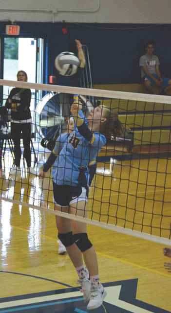 Sophomore Layne Burke (10) led Legacy Christian in kills in Tuesday's straight-set win over Jefferson Township, in Xenia.