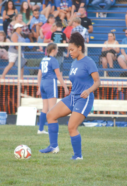 Yellow Springs' Aaliyah Longshaw scored the Bulldogs only goal in a 1-1 girls high school soccer tie Saturday, Sept. 14 at Yellow Springs High School.