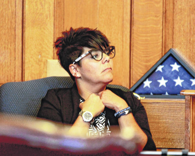 Yellow Springs Police Department Sgt. Naomi Watson waits to testify during trial.