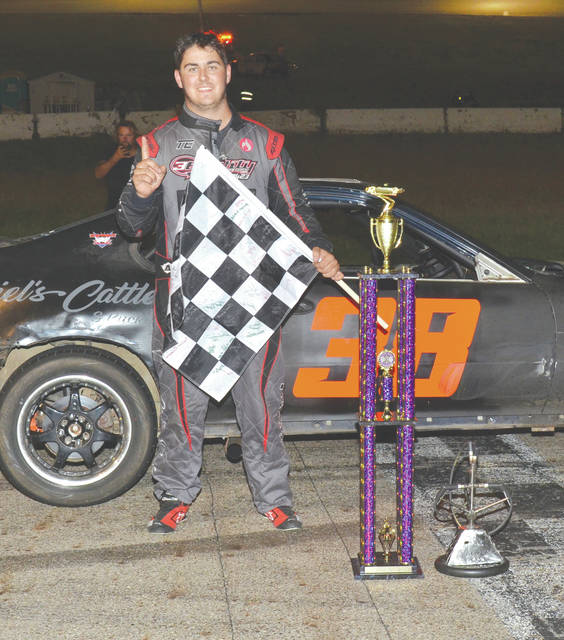 Tanner Earhart carried the checker after winning the second running of the Clunker Classic at Shady Bowl Speedway, in DeGraff. Earhart came all the way from Bristol, Tenn. to post the win. Nick Barrett was second, Jason Mahaffey was third Tyler Mahaffey was fourth and Don Mahaffey Jr. fifth.