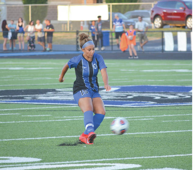 Xenia senior defender Malia Huston (15) kicks the ball downfield, during Wednesday' girls high school soccer match at Doug Adams Stadium in Xenia.