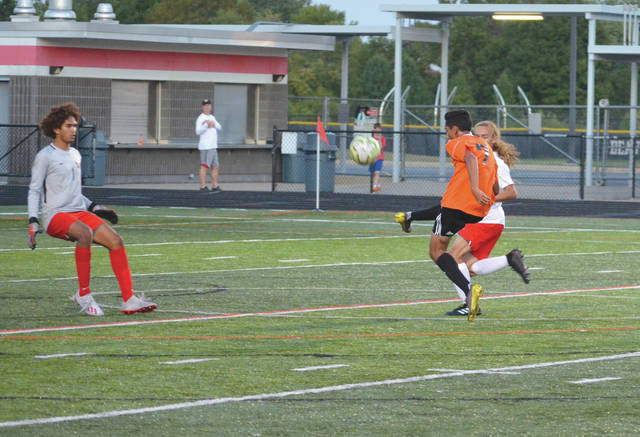 Beavercreek's Asad Patel scores a goal in Tuesday night's 5-0 Beavers win over Greater Western Ohio Conference foe Wayne, on Frank Zink Field in Beavercreek.