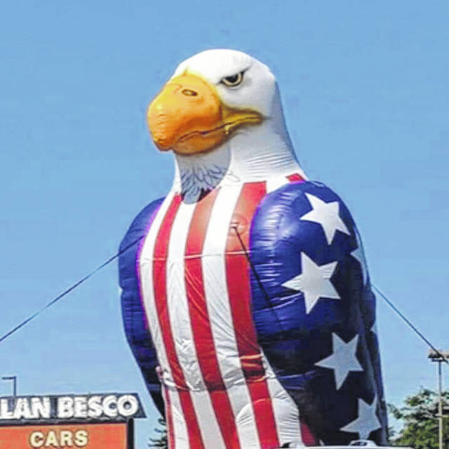 Submitted photo Annie the Eagle will no longer be able to fly at Alan Besco Car & Truck Superstore after the Xenia Board of Zoning Appeals denied a variance.