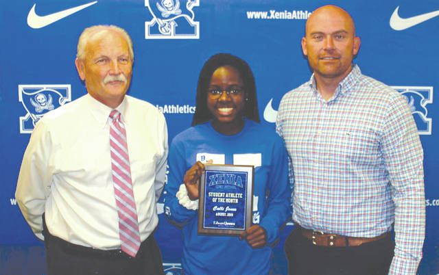 Calli Jones was chosen as the Edward Jones Investments Athlete of the Month for August for Xenia High School. This award is being sponsored by the office of Mike Reed at Edward Jones Investments of Xenia, serving Xenia, Jamestown, Cedarville and surrounding areas. Jones, a senior, is a member of the varsity cheerleading squad and member of the Student-Athlete Advisory Committee. She is a great leader and has a contagious personality and smile that makes her a role model at XHS. Her grade-point average is 3.65, and she is the definition of a student-athlete.
