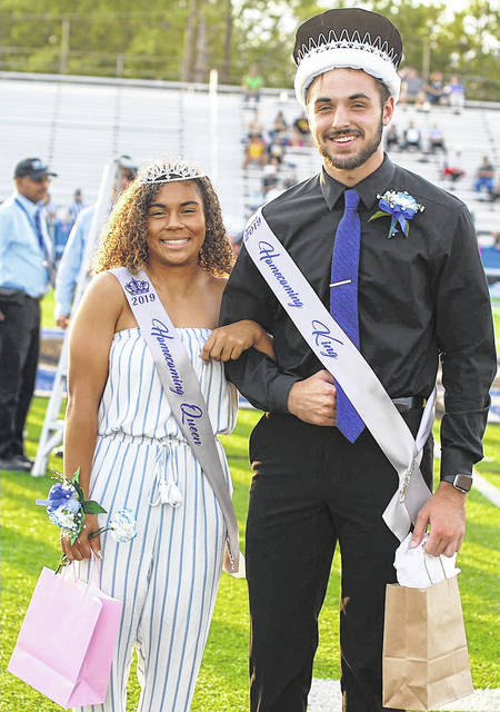 Barb Slone | Greene County News Xenia High School named Nate Saner homecoming king and Alyssa Echols queen during ceremonies Friday at the football game.