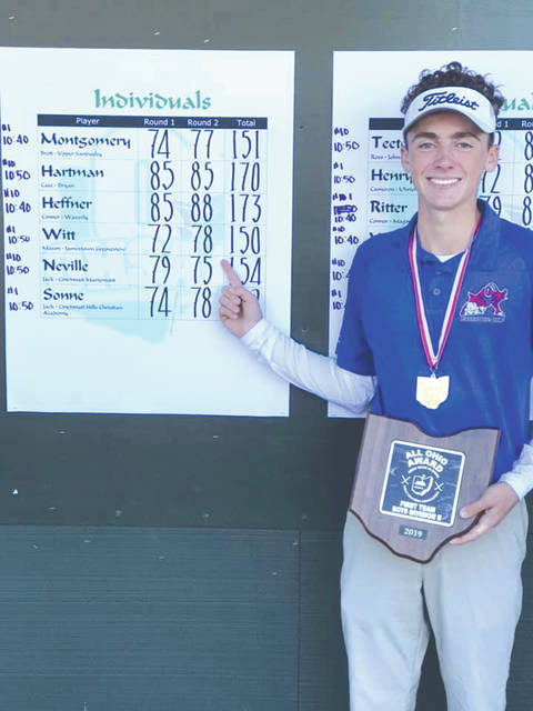 Greeneview junior Mason Witt points to his final score after winning the 2019 Division II state golf tournament individual championship, Oct. 12 at the NorthStar Golf Club in Sunbury.