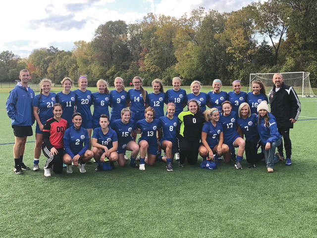 The 2019 Greeneview Rams girls varsity soccer team won the North 1 Bracket sectional title on Oct. 22 with a 1-1, 3-2 PK win over Preble Shawnee, at Miami Valley School in Kettering.