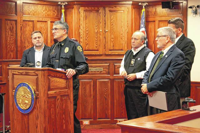 Anna Bolton | Greene County News Yellow Springs Police Chief Brian Carlson speaks during a Nov. 15 press conference alongside Captain Sean Magoteaux (Greene County Sheriff's Office), Sheriff Gene Fischer, Assistant Prosecutor David Hayes and Greene County Prosecutor Stephen Haller.