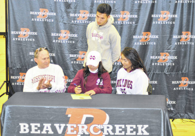 Scott Halasz | Greene County News Marcella Cash signs with Mississippi State University. Cash was a national player of the year as a junior and helped the Beavers to the state championship.